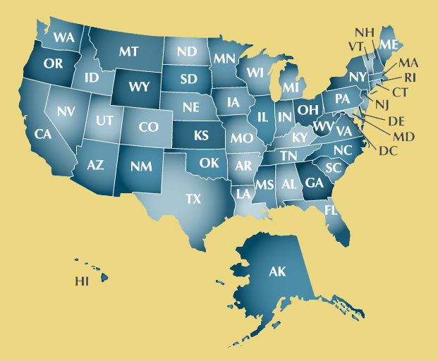 Find A Top Ranked Family Law Attorney Near You National Academy - Us attorney map